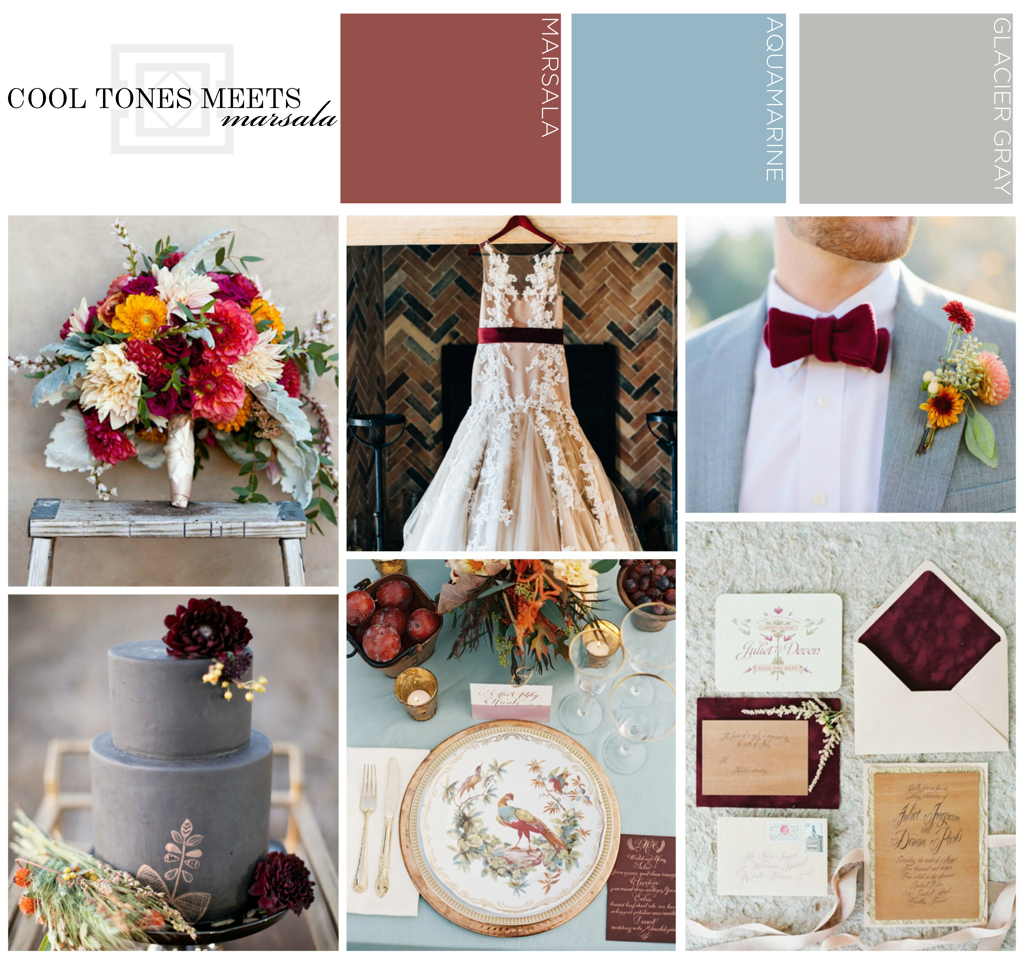 Marsala Meets Cool Tones Inspiration Wedding