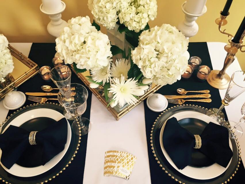 Black, White and Gold Table Decor