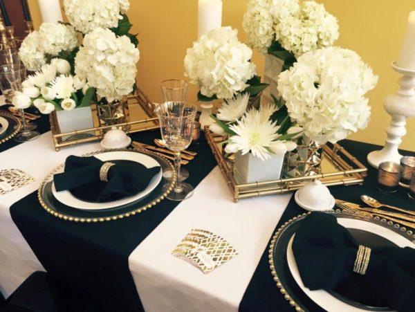 black white and gold wedding walk