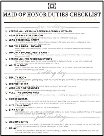 Roles & Responsibilities-Maid of Honor - Visions Event Studio